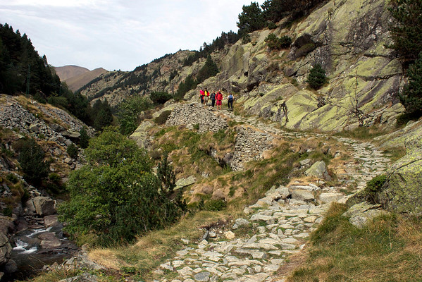 Hiking the Old Road from Vall de Núria to Queralbs in the Pyrenees, Catalonia, Spain