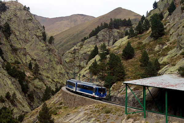 Train to the Vall de Núria in the Pyrenees, Spain