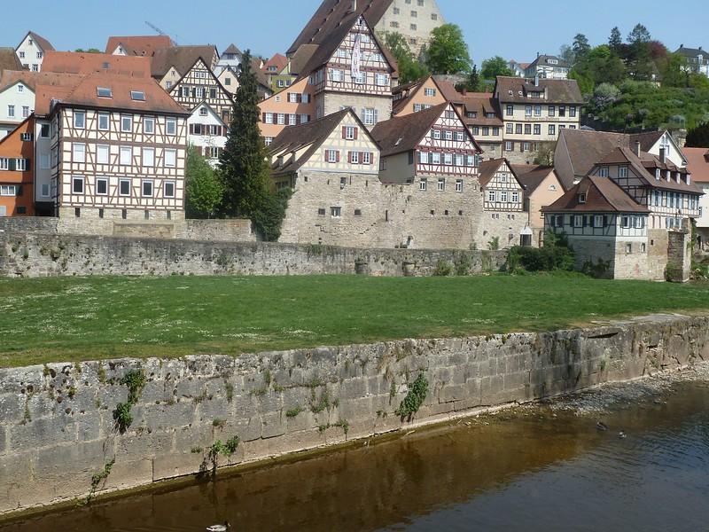 Castle wall/houses in Schwaebisch Hall, Baden-Württemberg, Germany