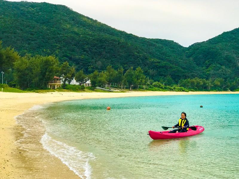 Kayaking on Tokashki Island in Okinawa, Japan.