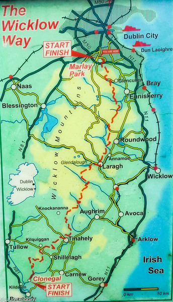 Map of the Wicklow Way in Ireland
