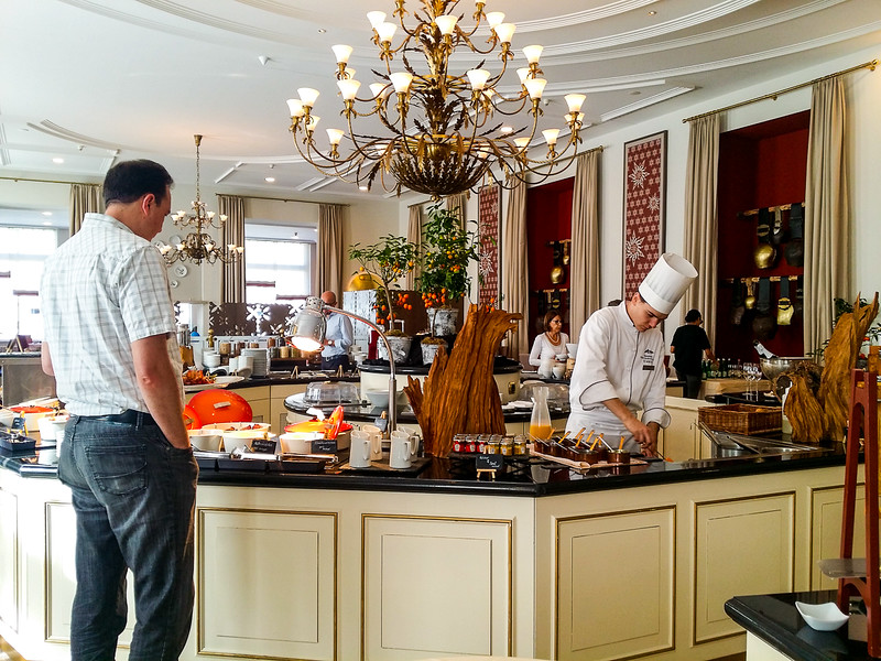 Breakfast at the Kempinski Grand Hotel des Bains in St Moritz Swizterland