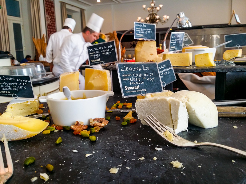 Huge selection of cheeses at the Kempinski Grand Hotel des Bains in St Moritz Swizterland