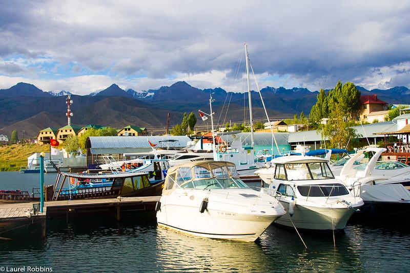 Take a boat ride on Lake Issyk-Kül.