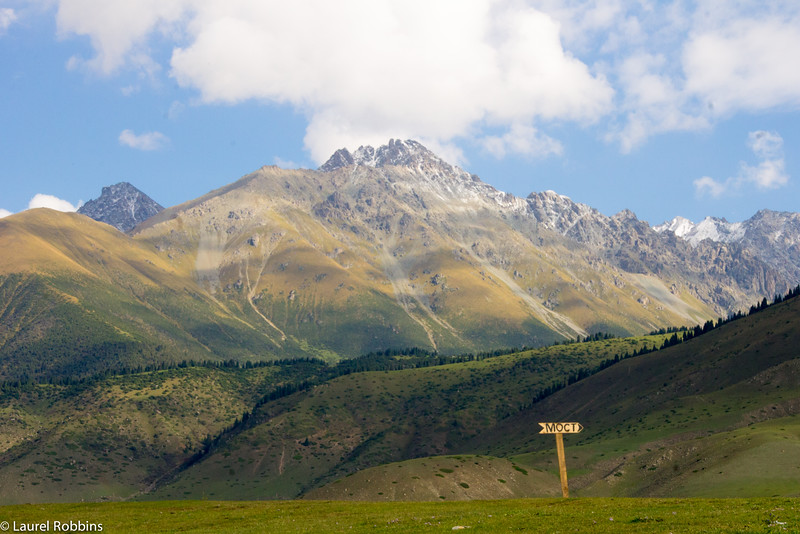 Tian-Shan mountains dominate the landscape in Kyrgyzstan.