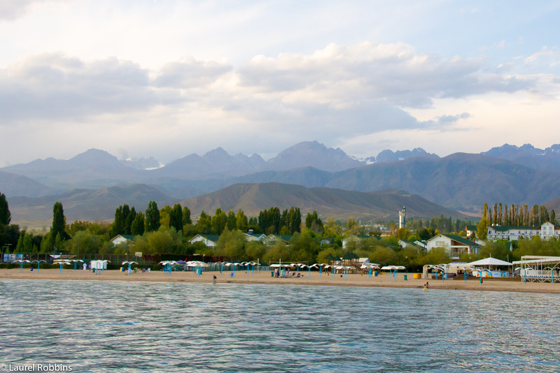 Lake Issyk-Kul with its beaches and mountain backdrop in Kyrgyzstan