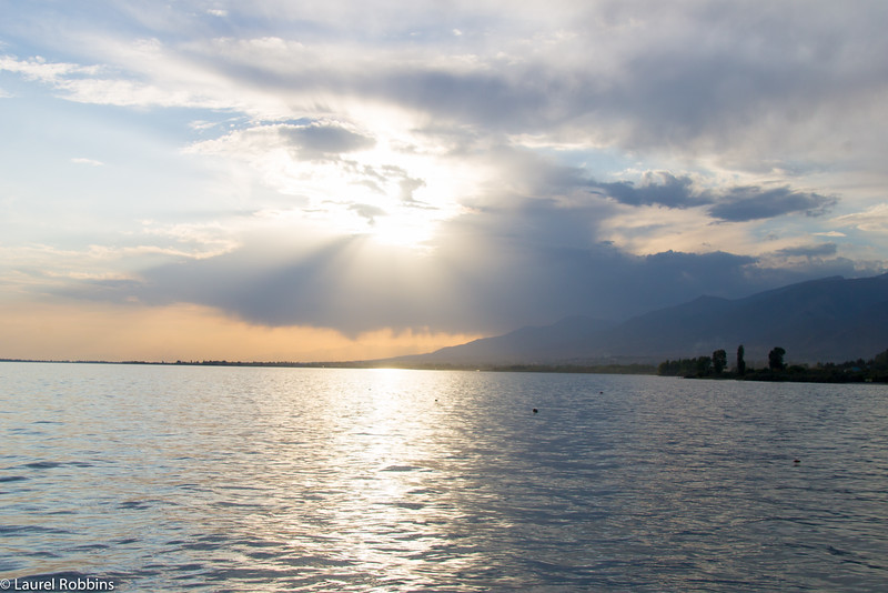 Sunset over Lake Issyk-Kul in Kyrgyzstan.
