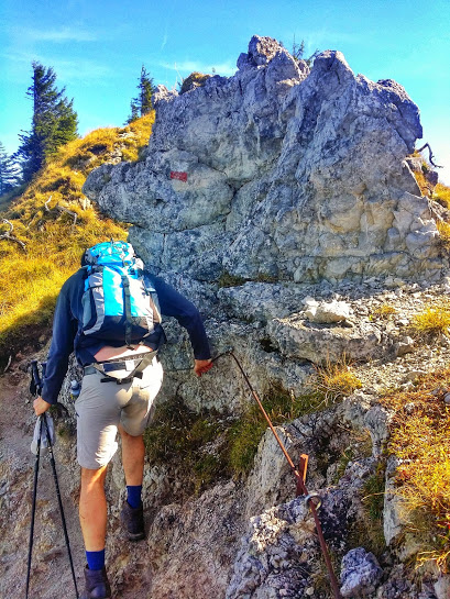 Hiking up the Labersteig, the more technical route up the mountain.