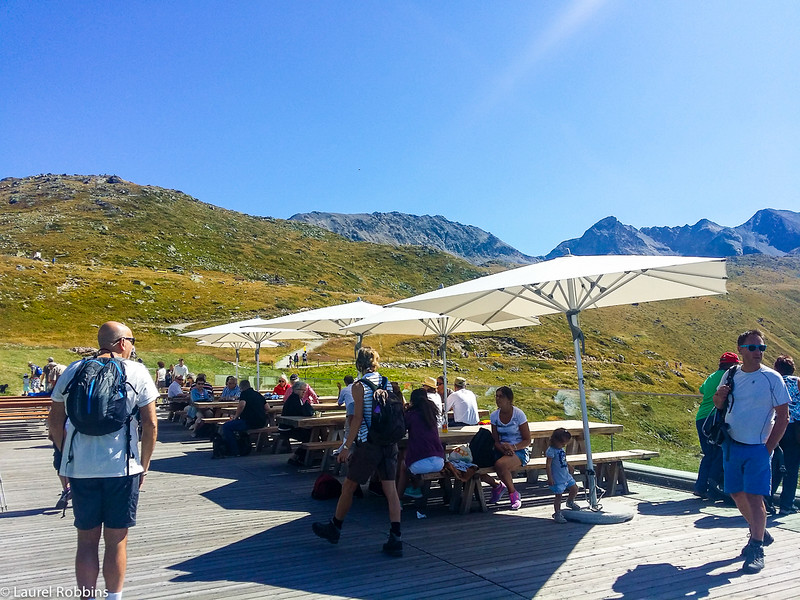 Panoramic restaurant at top of Muottas Muragl funicular in the Engagin mountains near St. Moritz, Switzerland.