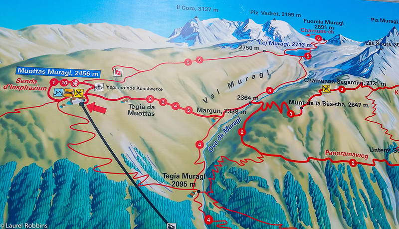map of hiking trails Muottas Moragl in the Engadin Mountains near St. Moritz