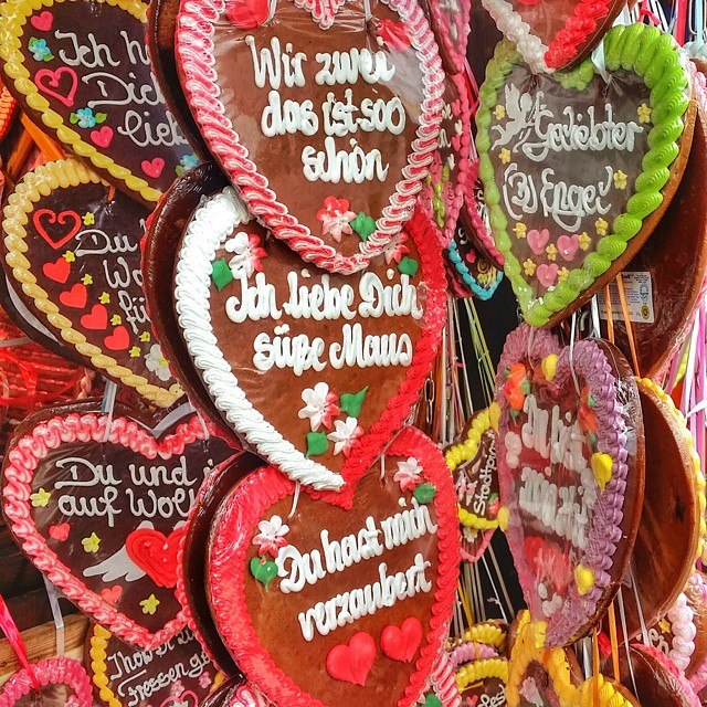 Gingerbread hearts are a popular souvenir at Oktoberfest.