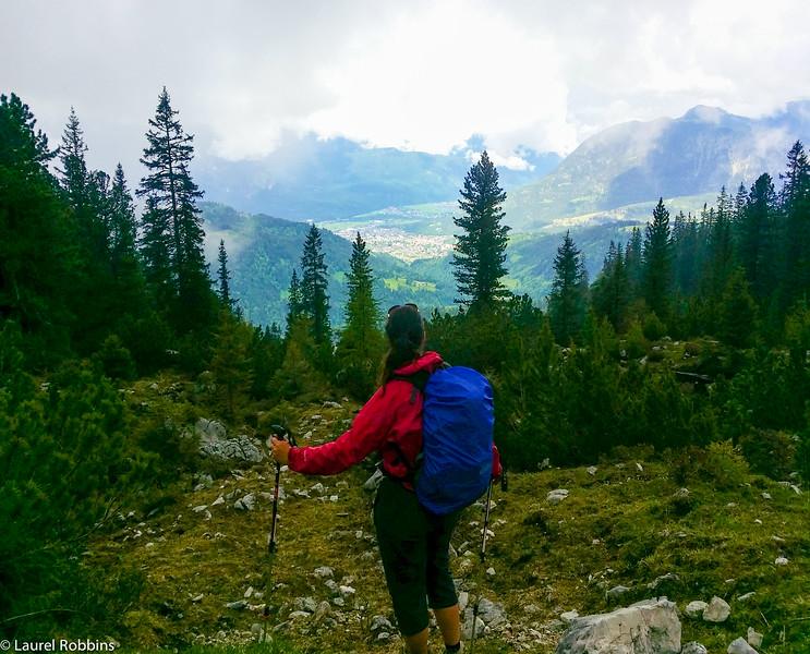Adventure travel blogger enjoying the views over Garmisch-Partenkirchen while hiking to the Schachen Haus.