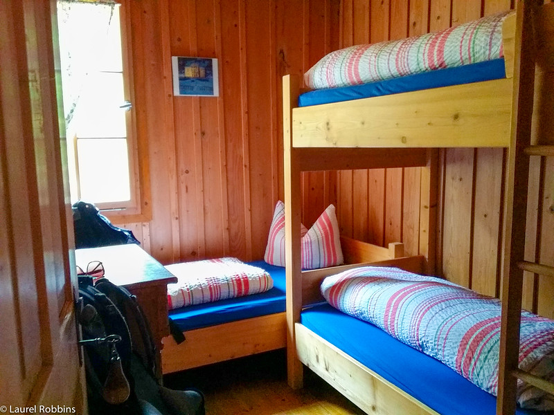 Private room in the Schachen Mountain Hut in the German Alps.