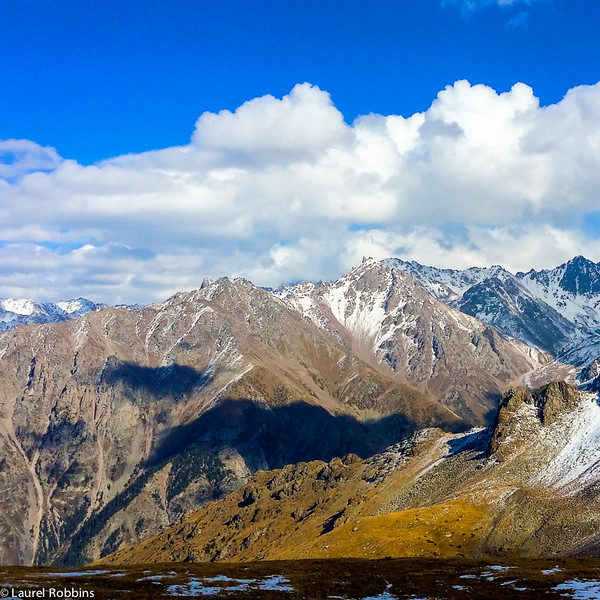 Views over the Tien Shan Mountains from the top of Shymbulak near Almaty, Kazakhstan.
