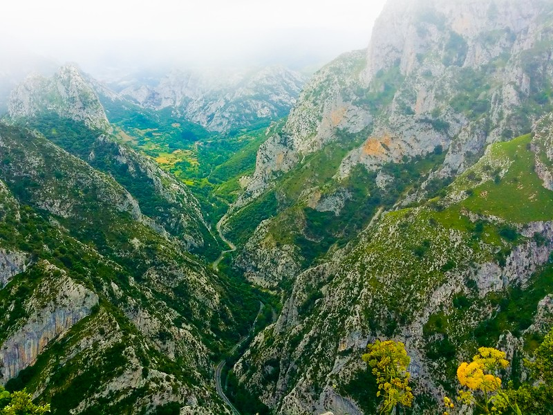Looking down at the Cares River in the Garganta Divina Ravine in Picos de Europa National Park in the Cantabrian Mountains.
