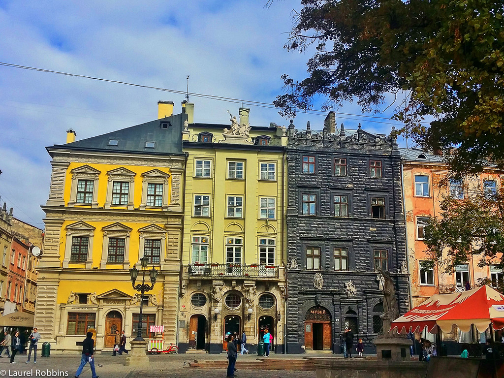Rynok Square, part of Lviv's historic city centre which is a UNESCO World Heritage Site.
