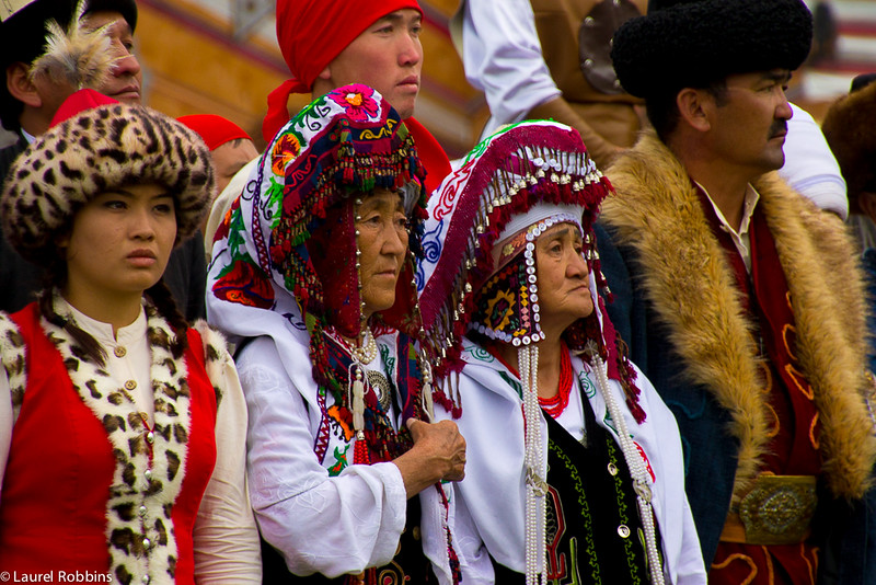 Participants wearing traditional Nomadic clothing at the World Nomad Games