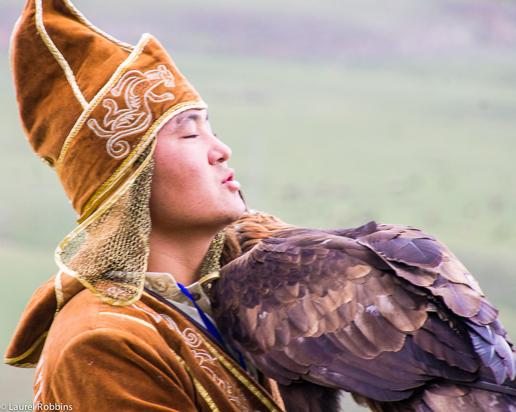 Falconer and his bird at the World Nomad Games