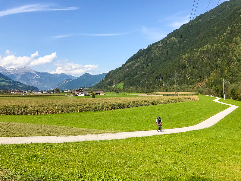 Cyclist in the Zillertal Valley.