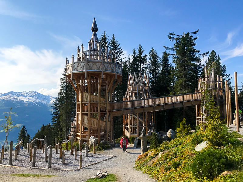 The Spruce Tree Castle will keep children entertained while you soak in the views from the nearby mountain hut.