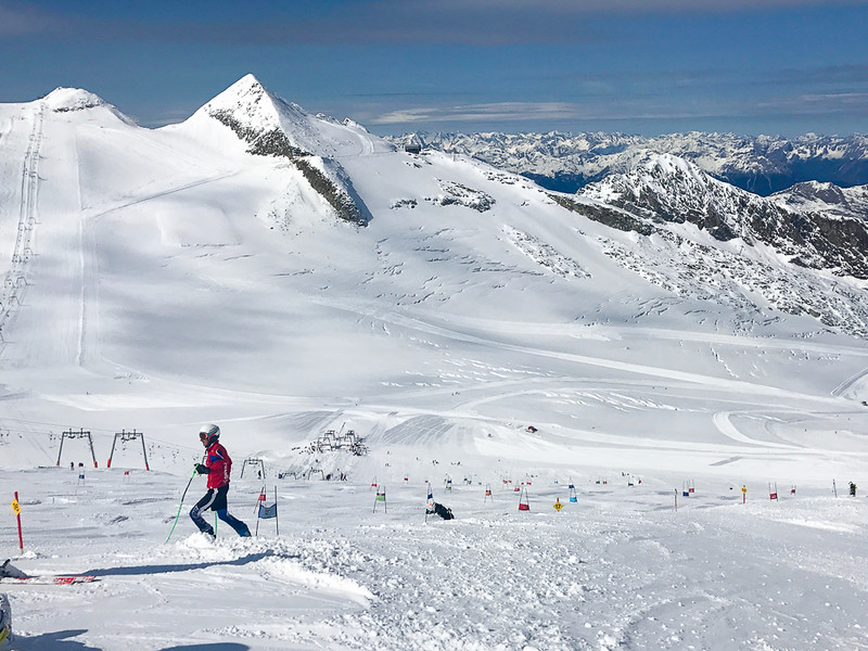 Hintertux Glacier attracts professional ski teams from all over the world because it's always skis season here.