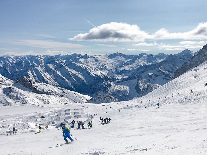 Skiing at the Hintertux Glacier in Zillertal where the Austria ski season is 365 days a year.