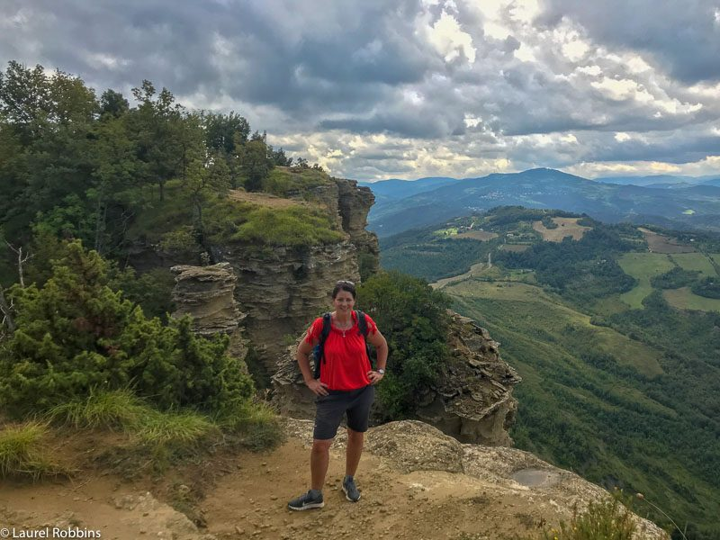 HIker at Mont Adonis overlooking the Bologna Hills