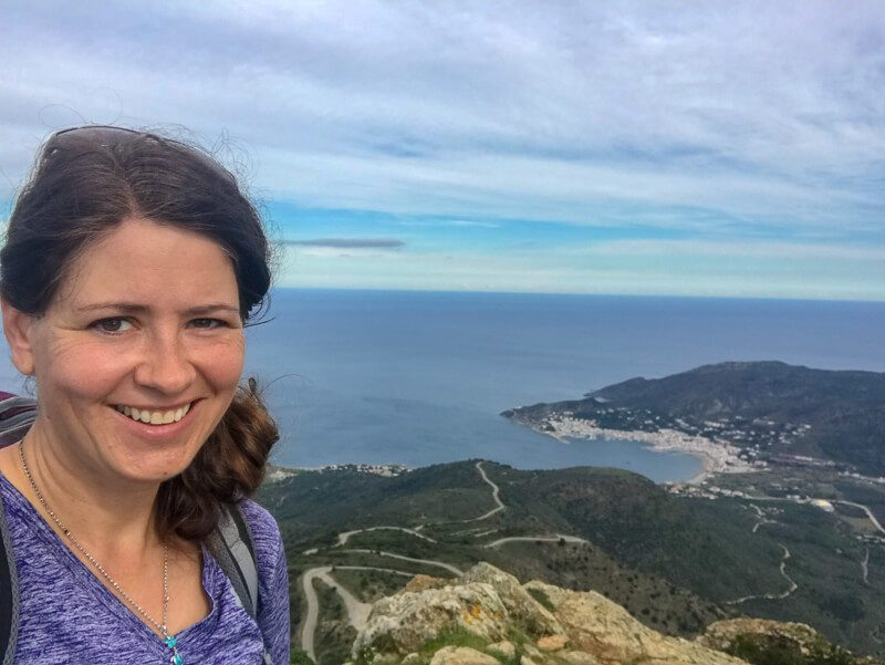 The founder, Laurel hiking in Costa Brava, Spain to France.