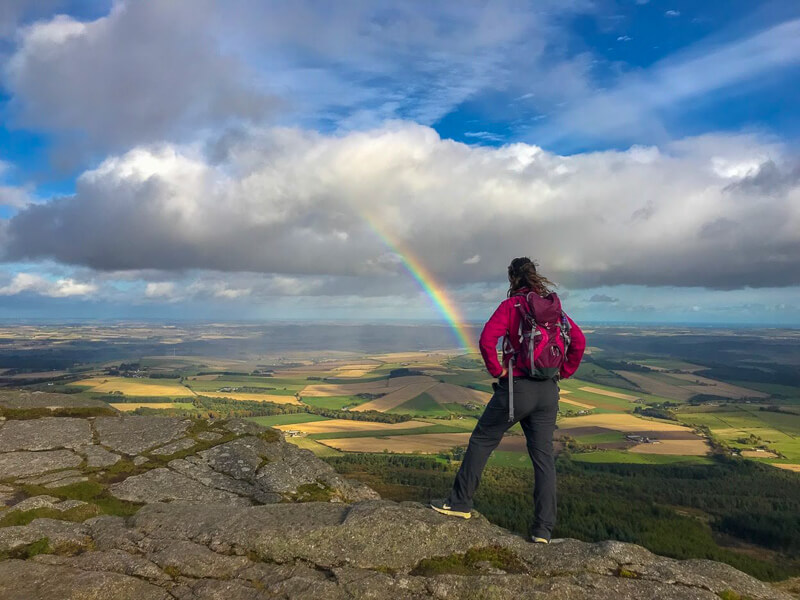 rainbow seen from the top of Bennachie in Aberdeenshire