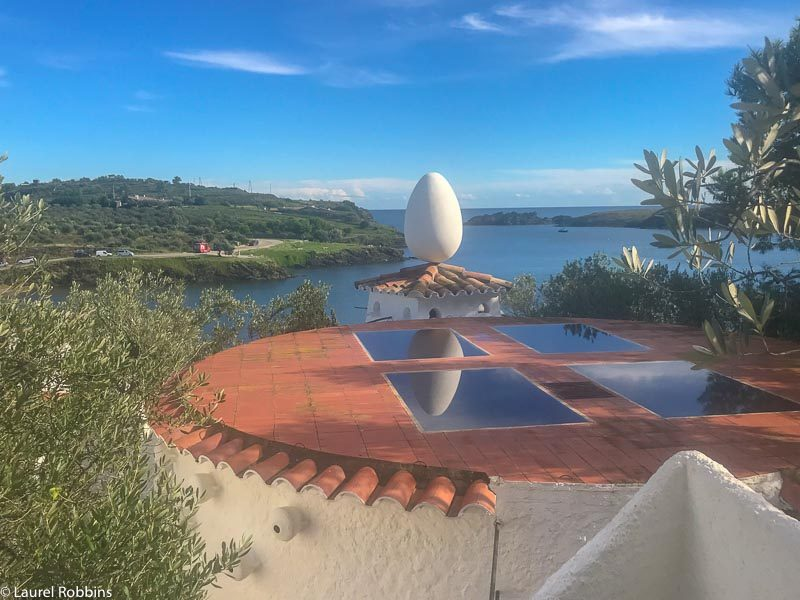 View over the top of Salvador Dali's house which you pass when hiking in Costa Brava
