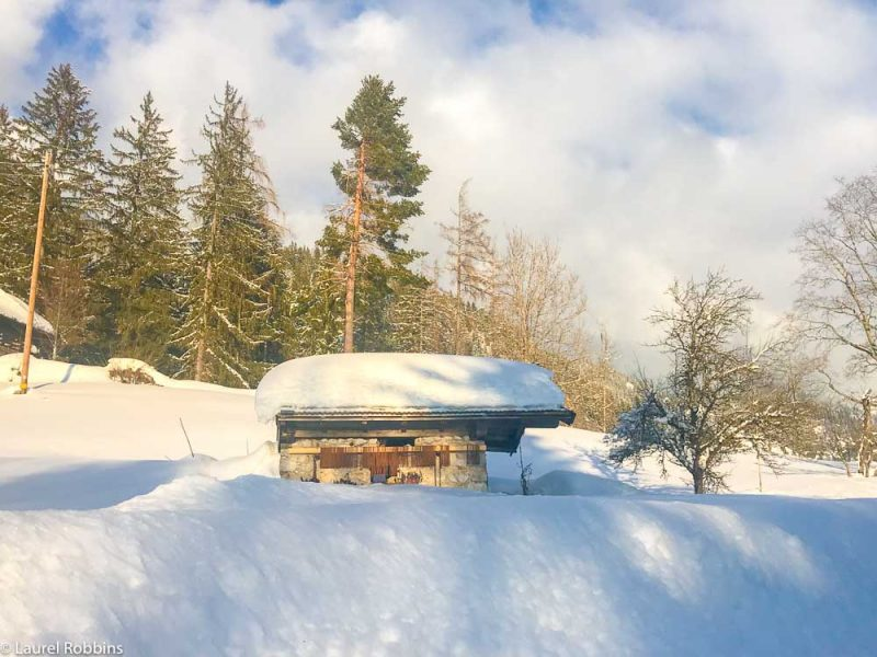 Snow-covered house in Wilder Kaiser
