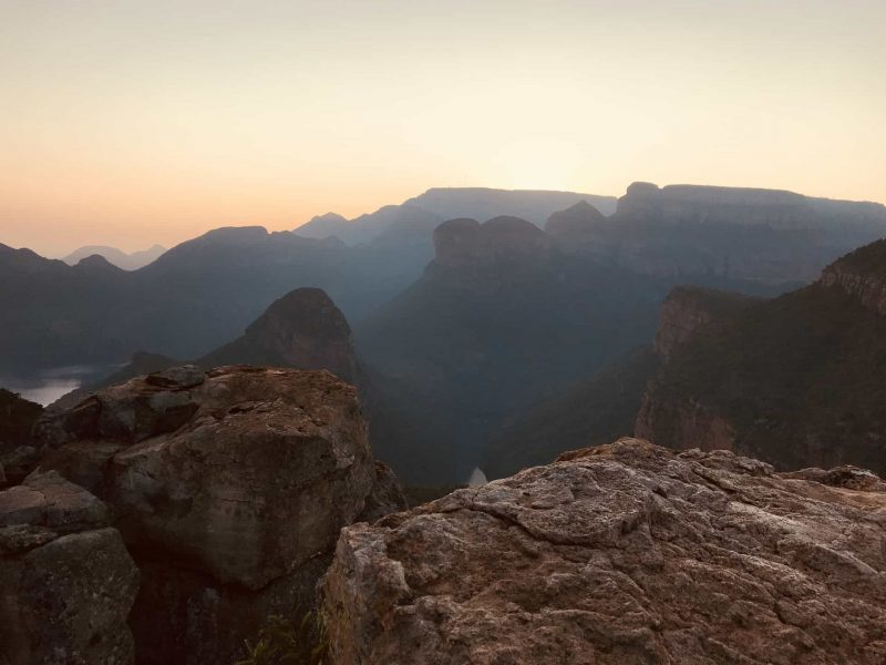 Sunrise over the canyon as seen from Blyde River Canyon Resort