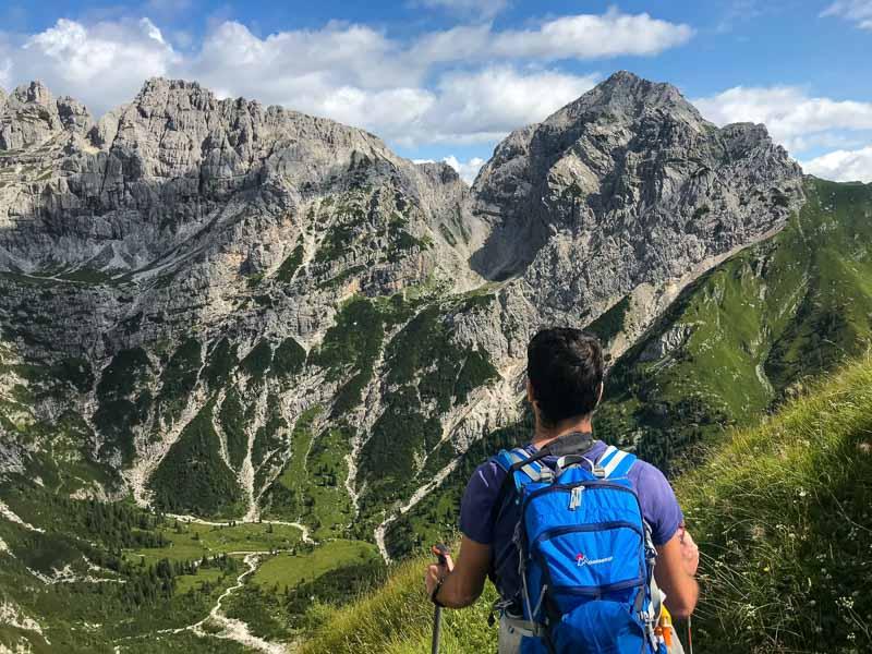 hiker enjoying a hiking tour in Europe (Dolomites)