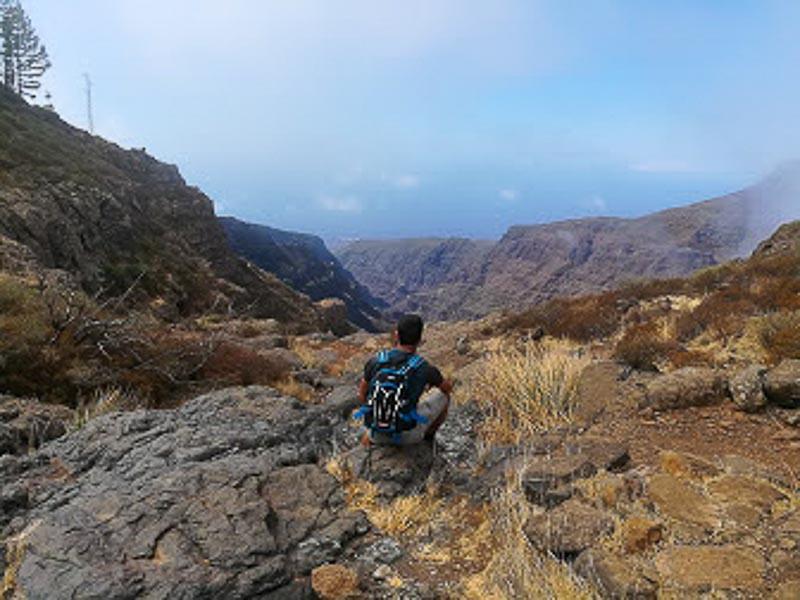 hiker in La Gomera enjoying the views