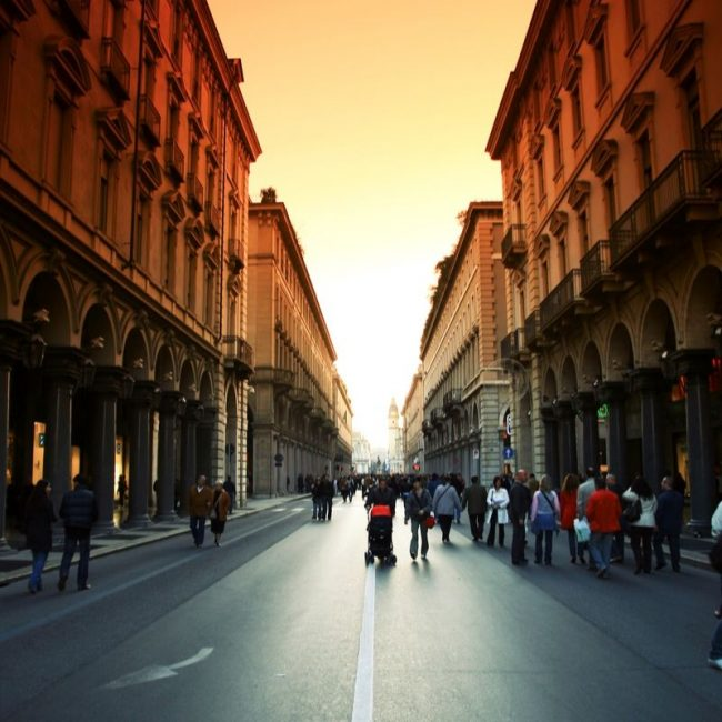 The streets of Turin at sunset