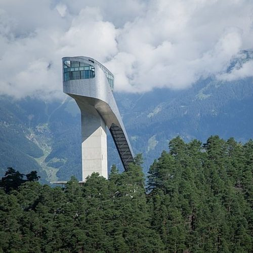 Bergisel Ski Jump seen from a distance
