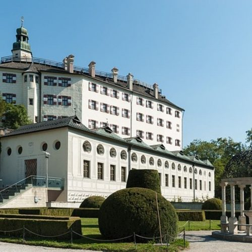 The white exterior of Ambras Castle
