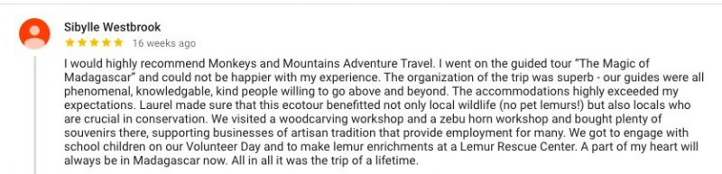 client review of our Madagascar tour