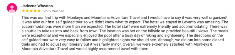 client review on Google of our Cinque Terre walking tour
