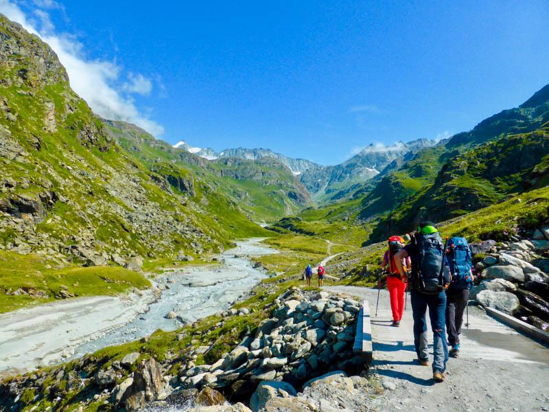 Trekkers in Haute Route: Chamonix to Zermatt