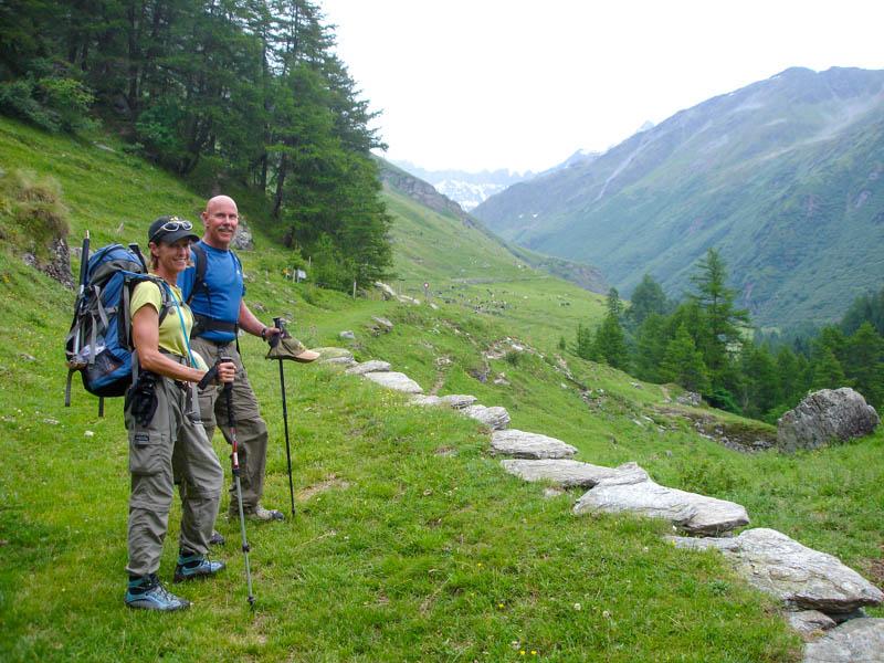 Hikers in the Haute Route from Chamonix to Zermatt