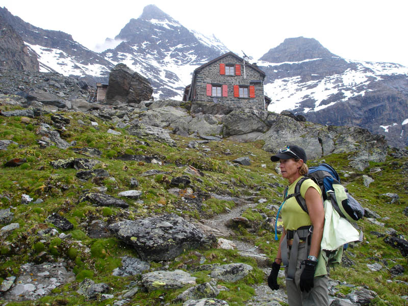 Arriving in a Mountain Refuge after a hiking day in the Haute Route