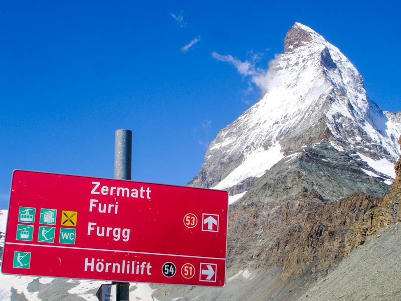 Arriving in Zermatt next to the Matterhorn