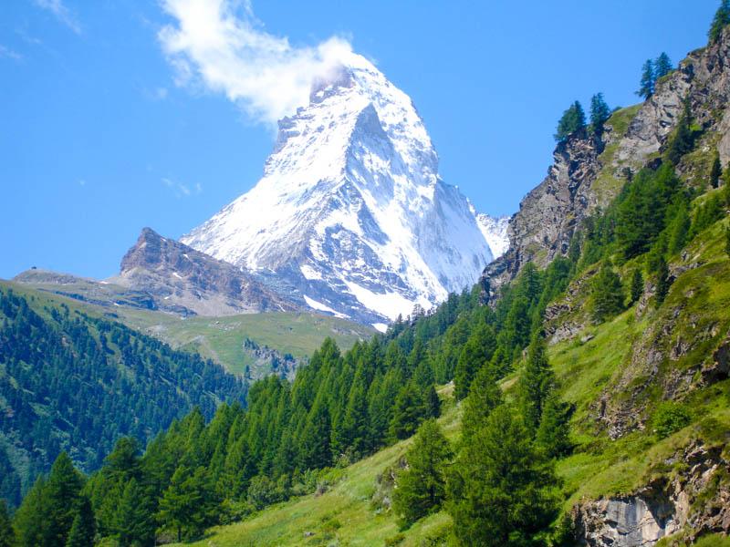 Hiking Near Matterhorn or Cervino in the Haute Route from Chamonix to Zermatt