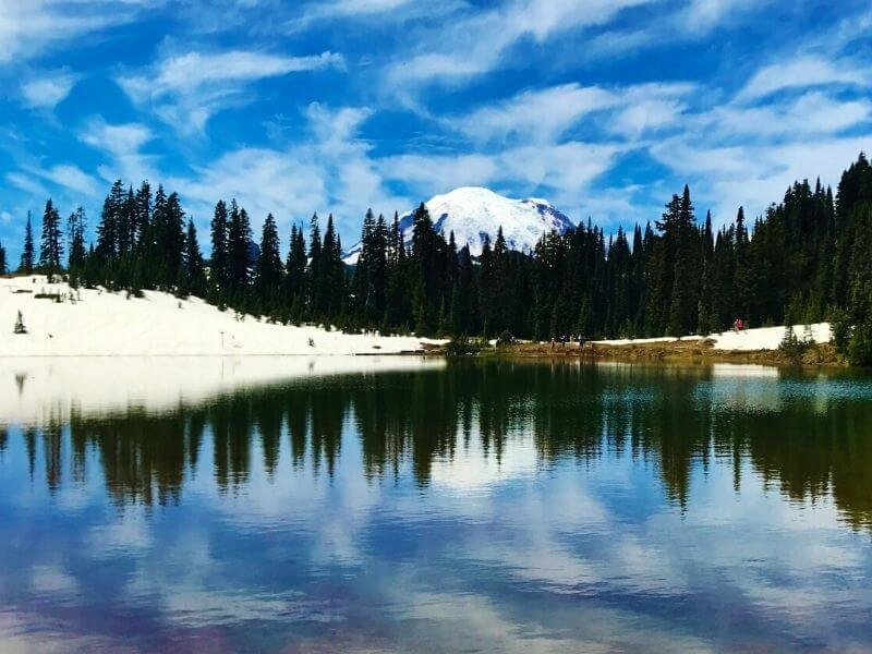 The hiking trail at Tipsoo Lake is easy and is perfect for a leisurely walk to enjoy the views of Mount Rainier