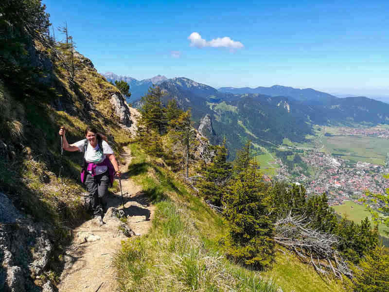 day hiker on the Laber in the Ammergau region of the German Alps