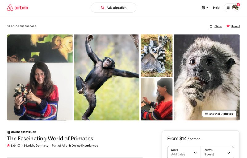 get a $10 discount on an Airbnb experience like my primate experience