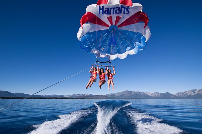 Lake Tahoe, California is a great place to try out parasailing