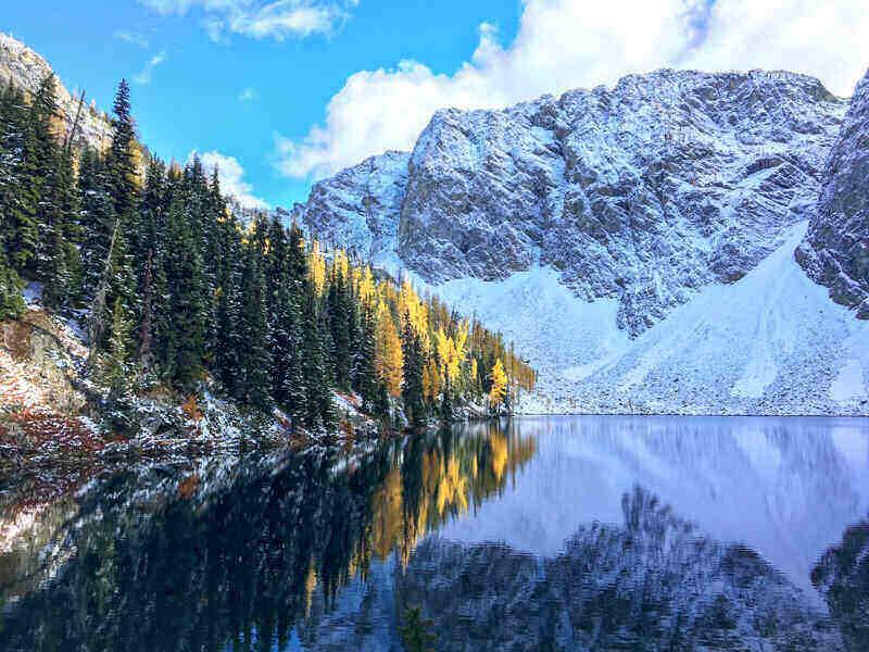Golden Larches seen at Blue Lake Cascades, Washington