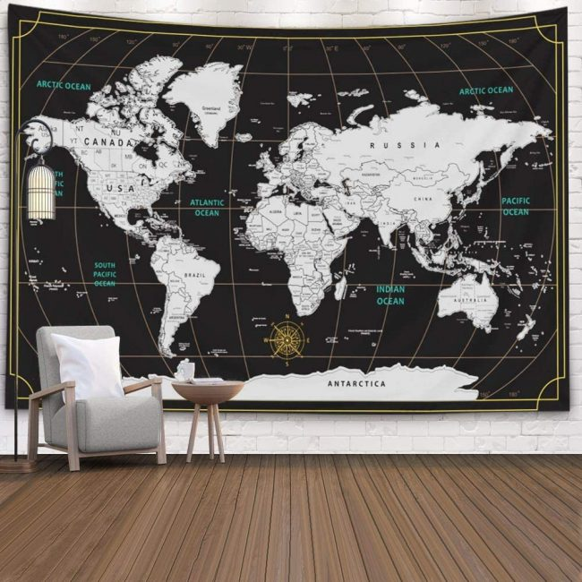 Bring the world home with a world map tapestry.